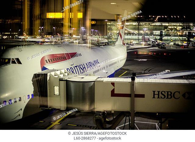 Airbus A380 in Terminal 5, Heathrow Airport, London, England