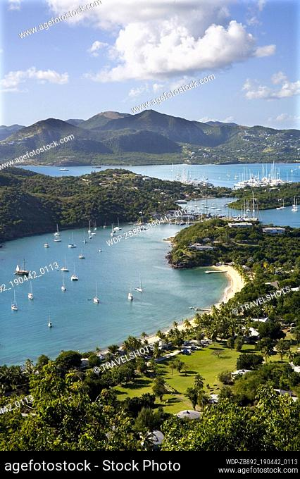 English Harbour and Nelsons Dockyard with Falmouth Harbour Caribbean Antigua Shirley Heights
