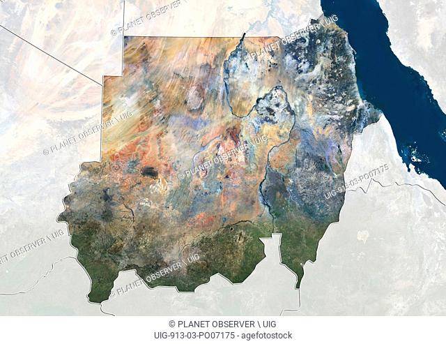 Satellite view of Sudan (with country boundaries and mask). This image was compiled from data acquired by Landsat 8 satellite in 2014
