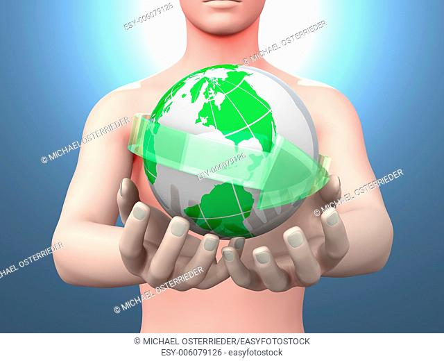Holding the world in your hands. 3D rendered illustration