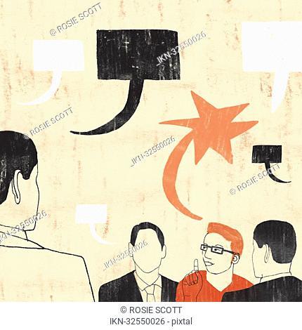 Creative professional talking with uniform businessmen