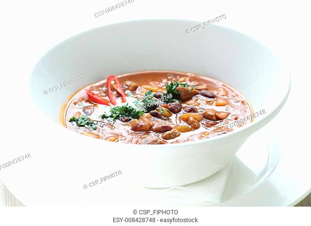 Soup in white dish