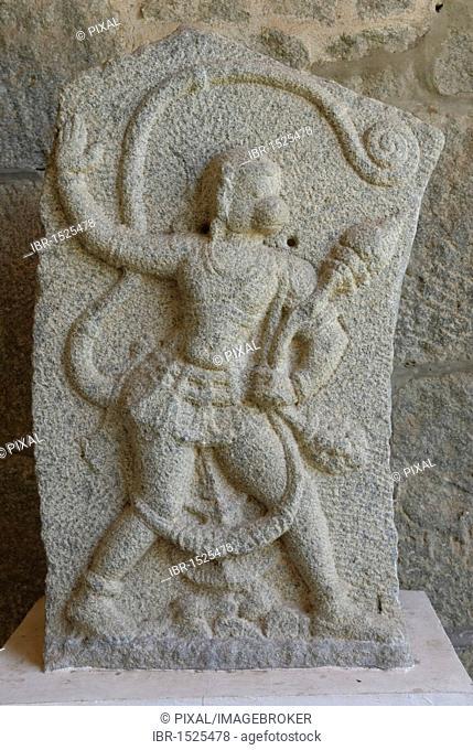 Hanuman sculpture made of stone, monkey god, Hampi, Karnataka, India, Asia