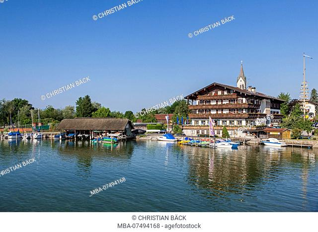 Lake Hotel Wassermann at Seebruck am Chiemsee, Chiemgau, Upper Bavaria, Bavaria, Southern Germany, Germany, Europe