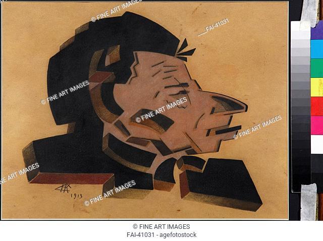 Portrait of Vsevolod Meyerhold (1874-1940) by Kulbin, Nikolai Ivanovich (1868-1917)/Mixed media/Russian avant-garde/1913/Russia/Private...