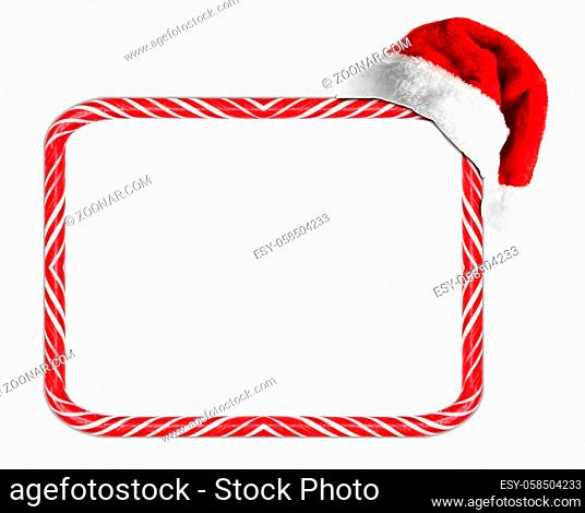 Candy cane stripes Christmas frame and Santa Claus hat isolated on white background