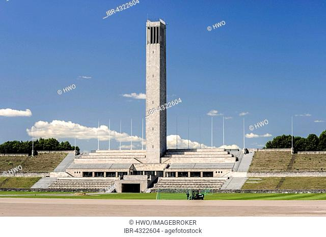 Tribunes of the Maifeld with clock tower and Langemarckhalle, architect Werner March, Reichssportfeld of the Summer Olympic Games in 1936