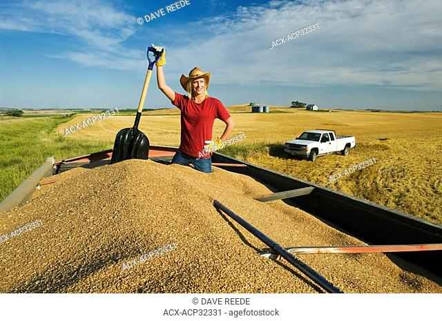 a girl holding a shovel, looks out from the back of a grain truck loaded with wheat, Tiger Hills, Manitoba, Canada