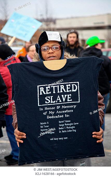 Superior Township, Michigan - A woman at a rally to protest Michigan's emergency financial manager law on the Martin Luther King Jr holiday