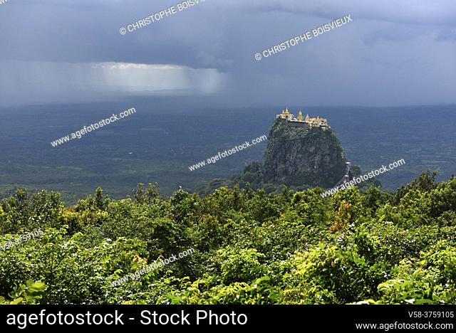 Myanmar, Mandalay region, Monsoon rain on Mount Popa