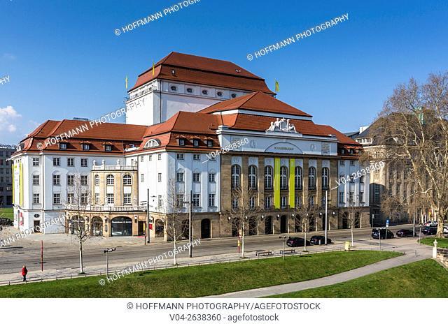 The picturesque State Playhouse Dresden (Staatsschauspiel Dresden), Dresden, Saxony, Germany, Europe