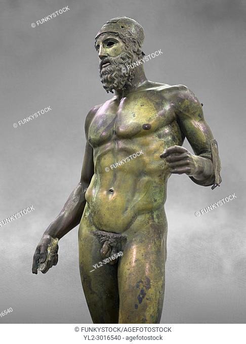 The Riace bronze Greek statues cast about 460 BC. Museo Nazionale della Magna Grecia, Reggio Calabria, Italy