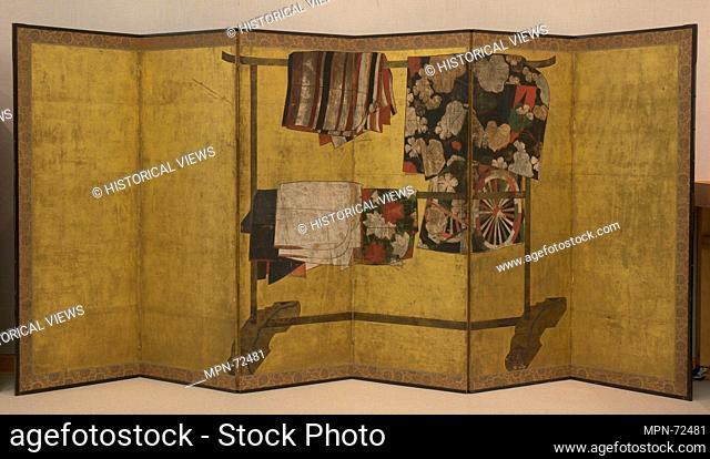Whose Sleeves? (Tagasode). Period: Edo period (1615-1868); Date: 17th century; Culture: Japan; Medium: Six-panel folding screen; ink, color
