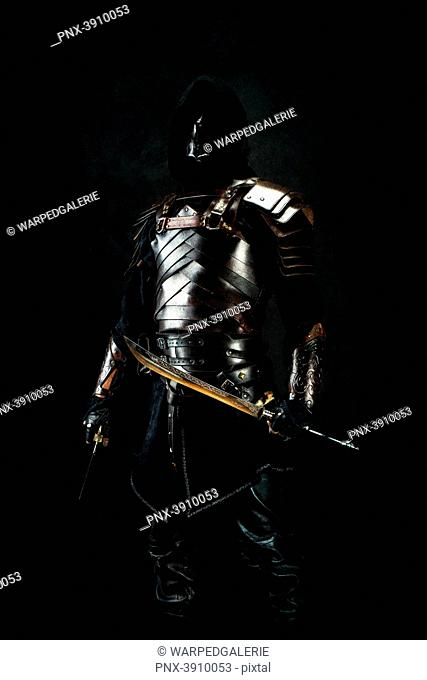 Sarmatian knight in studio on black background