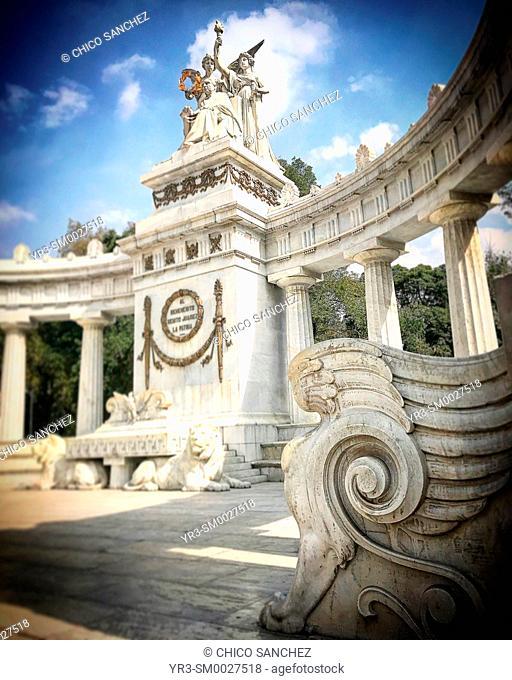 A sphinx decorates the Hemiciclo a Benito Juarez monument in the Alameda Central Park in Mexico City, Mexico