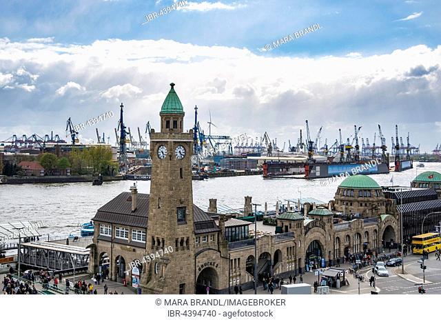 St. Pauli Piers, Elbe River view, Pegelturm (water tower), Port of Hamburg, Hamburg, Germany