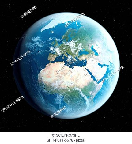 Planet earth, computer illustration