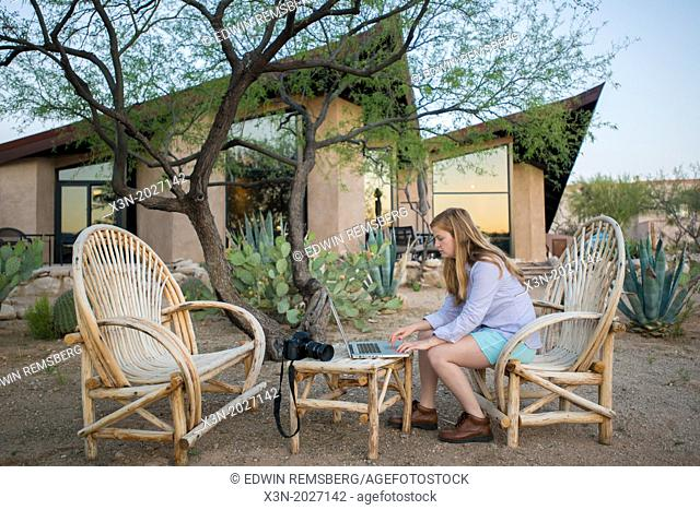 Tucson AZ - Working outdoors on laptop computer