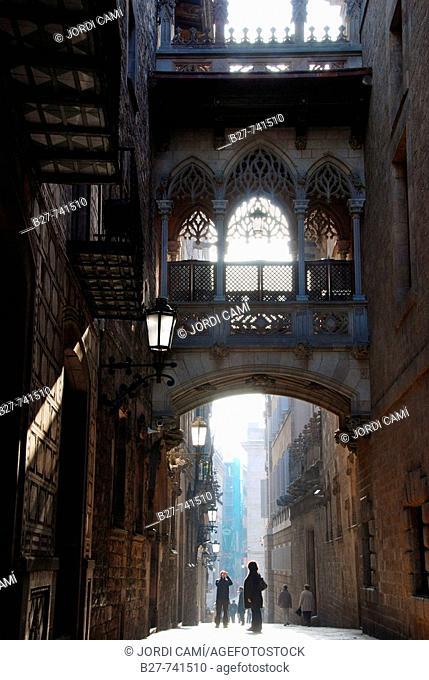Carrer del Bisbe, Gothic quarter, Barcelona, Catalonia, Spain