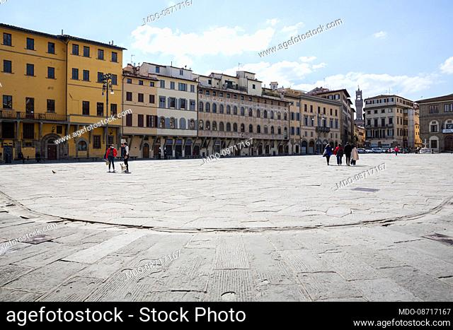 The large Pazza Santa Croce. Florence (Italy), April 17th, 2021