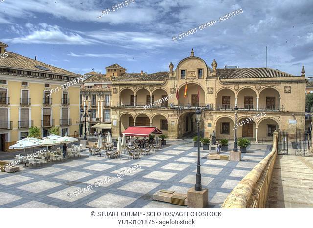 Plaza de Espana square in the Spanish city of Lorca in Murcia Spain