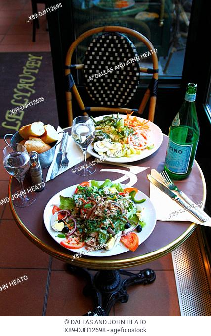 France, Versailles, Food, Typical French Salad with sparkling Mineral Water
