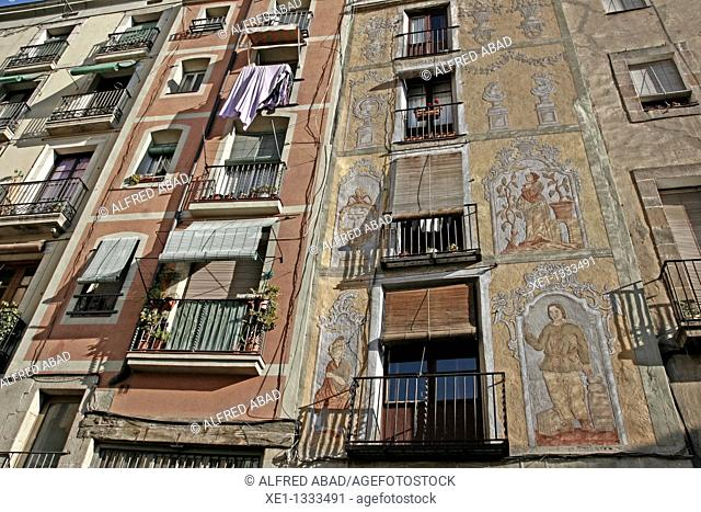 flats with recorded pictures, gothic quarter, Barcelona, Catalonia, Spain