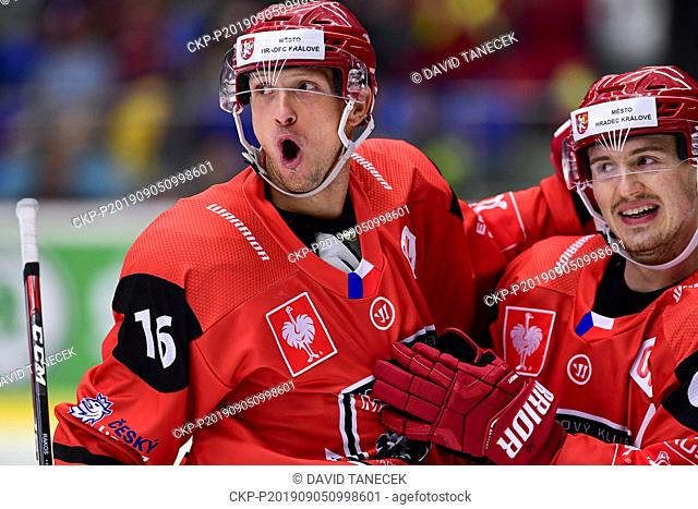 From left hockey players of Hradec Kralove Daniel Rakos and Rudolf Cerveny celebrate a goal during the Champions Hockey League H group game: Hradec Kralove vs...