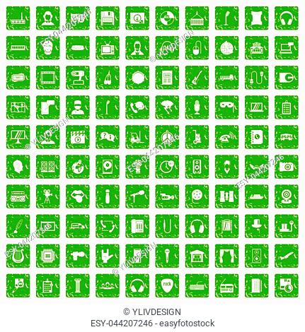 100 microphone icons set in grunge style green color isolated on white background illustration