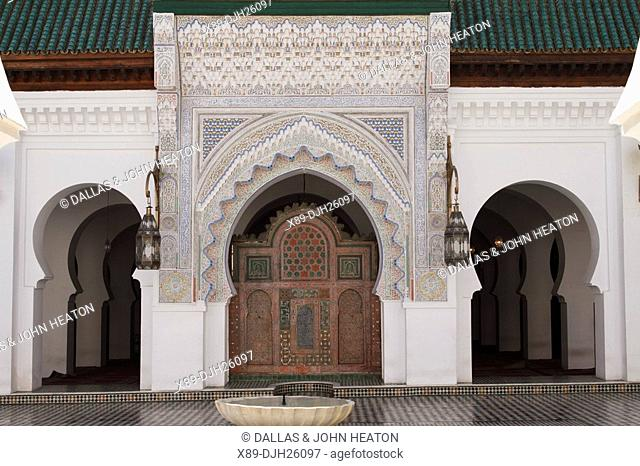 Africa, North Africa, Morocco, Fes, Fès el Bali, Old Fes, Medina, Old Town, Kairaouine Mosque, University Courtyard