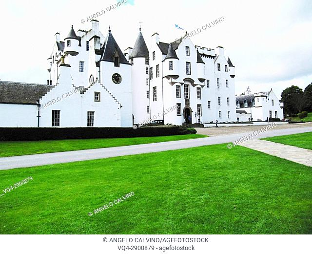 The Garden in from of The Blair Castle, Blair Atholl, United Kingdom, Scotland, Perth and Kinross