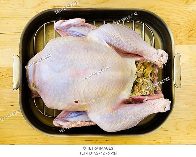 Raw turkey on roasting pan
