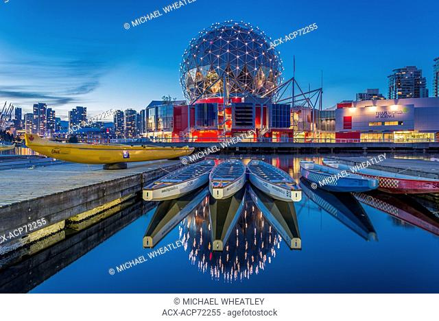 Telus World of Science and dragon boats, False Creek, Vancouver, British Columbia, Canada