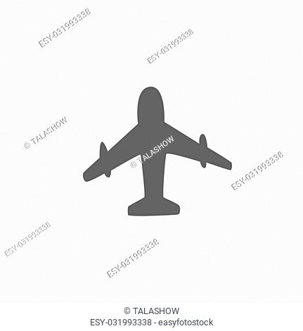 Icon gray airplane on a white background vector