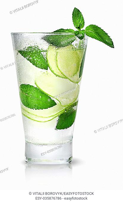 Mojitos in sweaty glass isolated on white background