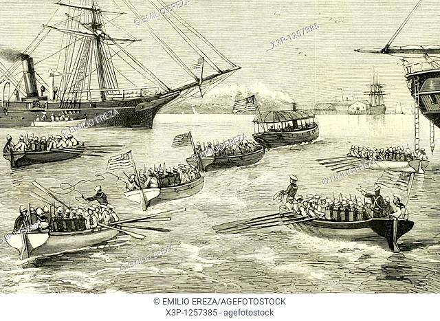 American troops landing in Colon Colombia to occupy the Panama Canal, at that time in construction  Antrique illustration  1885