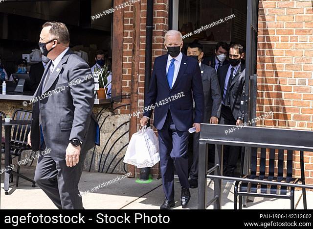 United States President Joe Biden departs after picking up tacos during a visit to Las Gemelas Restaurant in Washington, DC, USA, 05 May 2021