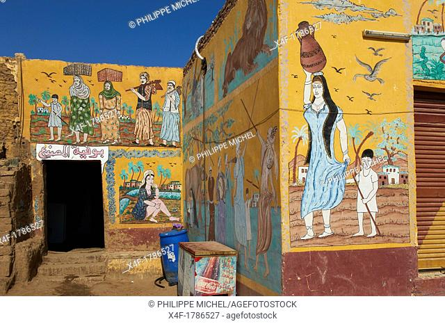 Egypt, Nile Valley, Luxor, Thebes, West bank of the River Nile, painting at Gourna village