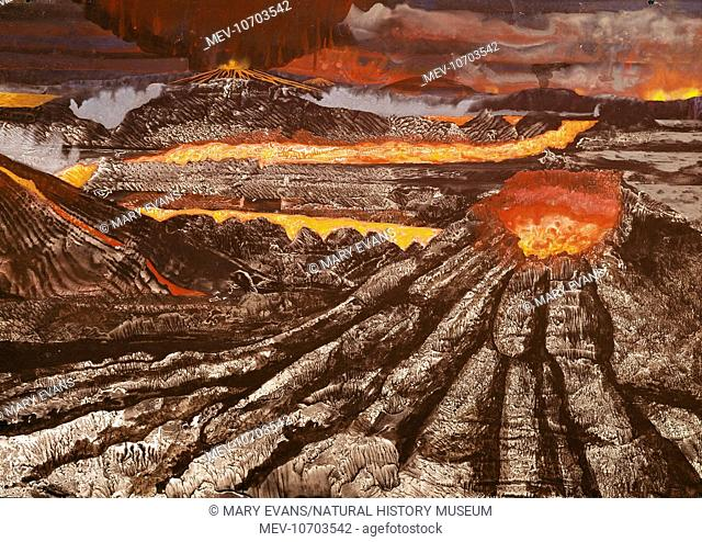 This is an artist's impression of volcanoes frequently active on the surface of early Earth