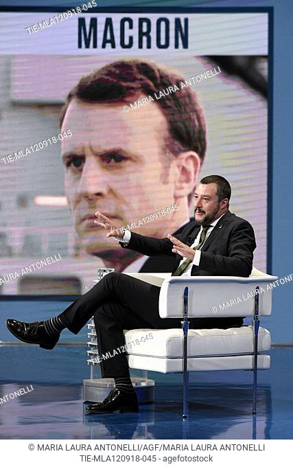 Italian Minister of Interior Matteo Salvini during the tv show Porta a porta, Rome, ITALY-11-09-2018
