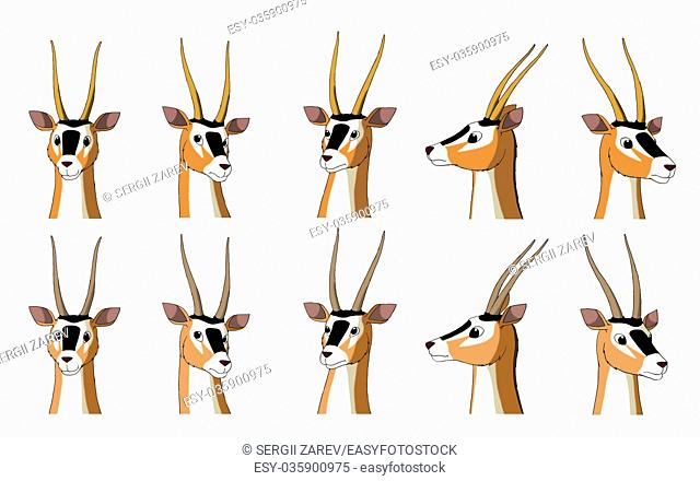 Set of African Antelope Gazelle images. Digital painting full color cartoon style illustration isolated on white background