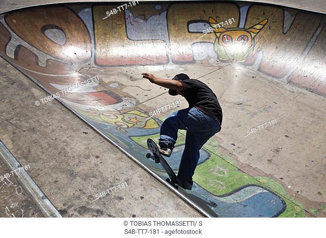 Teenager on skateboard, Perth, Western Australia, Australia