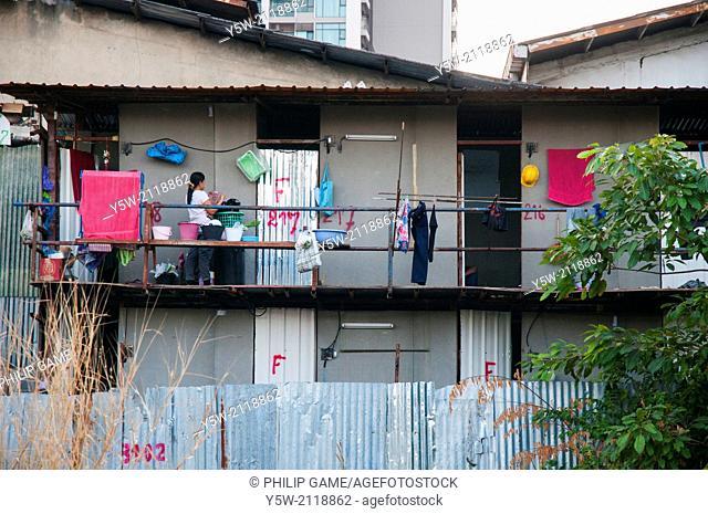 Cramped housing near the Khlong Saem Saep, Bangkok