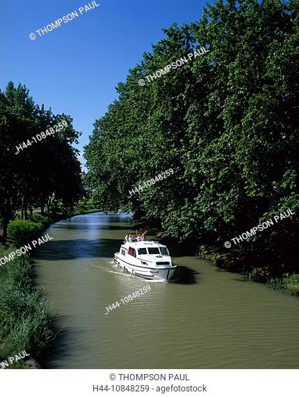 France, Europe, Canal du midi, motor, Boat, family, holiday, sailing, down, French, countryside, Aude, Languedoc, Rous