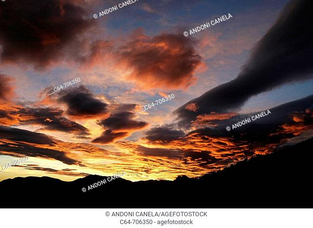 Lenticularis clouds. Cadi Moixero Natural Park. Pyrenees. Catalonia. Spain