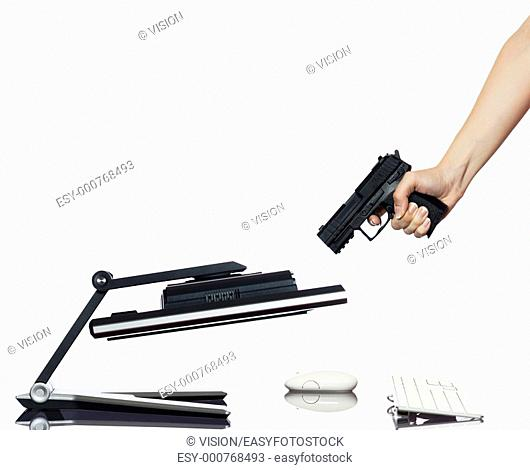 communication between human hand and a computer display monitor on isolated white background expressing breakdown gun concept