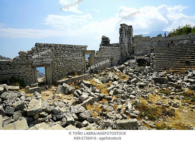 Amphitheater of Termessos. The unexcavated Pisidian city. Ancient Greece. Asia Minor. Turkey