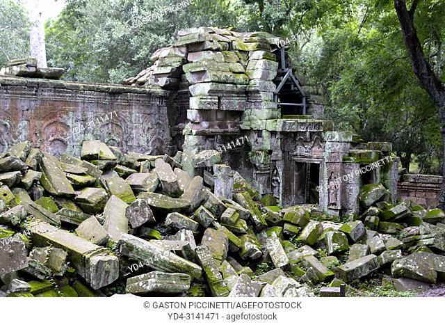 Ruins of Ta Prohm temple in Angkor Wat, Siem Reap, Cambodia. Ta Prohm is the modern name of the temple at Angkor, Siem Reap Province, Cambodia