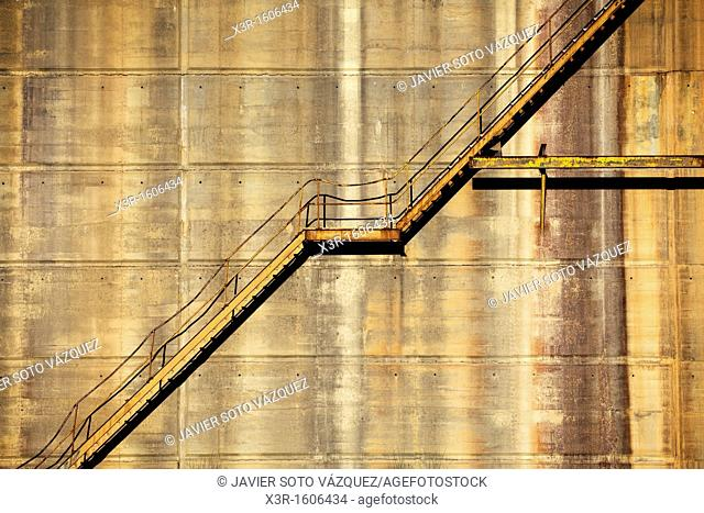 Staircase in an abandoned industrial building in Huelva Spain