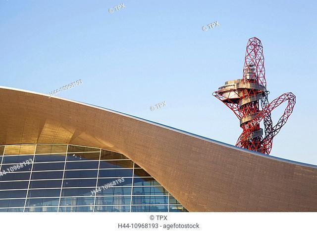 England, Europe, London, Stratford, Queen Elizabeth Olympic Park, ArcelorMittal Orbit, and Aquatics Centre